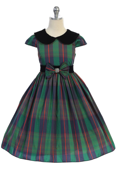 Girls Plus Size Green Plaid Dress w. Velvet Collar & Bow Accent KD495A