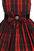 Girls Red Plaid Dress w. Velvet Collar & Bow Accent KD495A