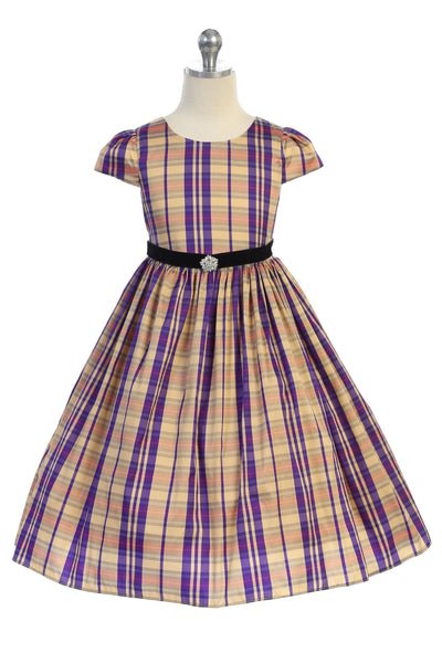 Girls Beige & Purple Plaid Dress with Rhinestone Brooch KD495C
