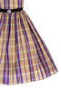 Girls Plus Size Beige & Purple Plaid Dress w. Velvet Trim KD495C