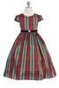 Girls Plus Size Red & Green Plaid Holiday Dress w. Velvet Trim KD495C