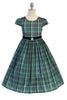 Girls Plus Size Green & Teal Blue Plaid Dress w. Velvet Trim KD495C