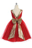 Girls Plus Size Red Party Dress Gold Sequin V-Back Glitter Tulle KD498