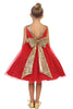 Girls Red Party Dress Gold Sequin V-Back & Glitter Tulle Skirt
