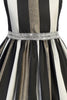 Girls Black, White & Metallic Gold Striped Dress with Rhinestone Trim KD500