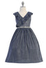 Girls Plus Size Blue Metallic Lurex Dress with Ruffled Wrap Bodice KD504