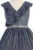 Girls Blue Metallic Lurex Dress with Ruffled Wrap Bodice KD504