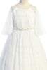 Girls Ivory Shirred Mesh Full Length Communion Dress with Pearl Accents