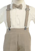 Boys Khaki Tan Long Sleeve Suspender Pant Set with Hat  G829