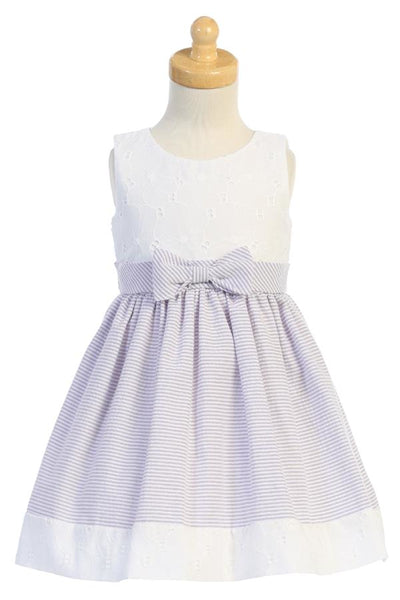 Lilac Seersucker & White Eyelet Girls Spring Holiday Dress M761