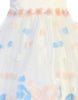 Ivory & Blue Girls Satin Dress w. Floral Embroidered Tulle Skirt  M208