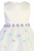 Ivory & Lilac Girls Satin Dress w. Floral Embroidered Tulle Skirt  M208