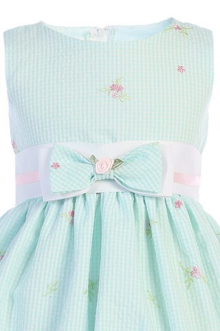 Mint Gingham Print Cotton Seersucker Girls Easter Dress  M738
