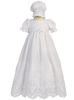 Baby Girls Floral Embroidered Tulle Christening Gown w. Lace Trim Candice