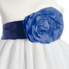 NAVY BLUE - BL90P POLY SILK SASH & FLOWER PIN