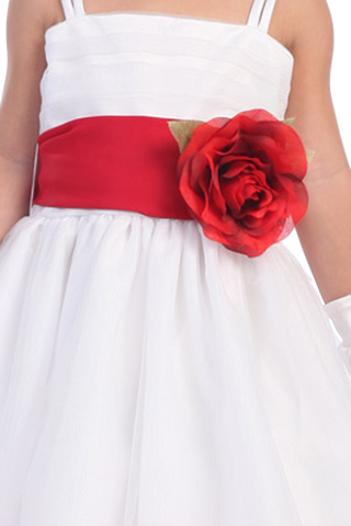 RED - BL90S SATIN SASH & FLOWER PIN