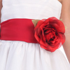 RED - BL90P POLY SILK SASH & FLOWER PIN