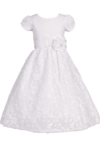 Tulle Overlay Girls Communion Dress w. Embroidered Floral Ribbon Skirt  SP129