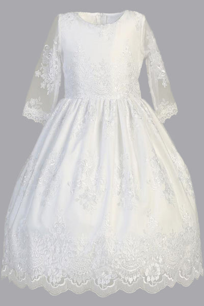 Floral Damask Lace Girls Communion Dress with Sheer 3/4 Sleeves SP139