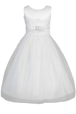 Girls White Satin & Tulle Communion Dress w. Lacy Trim  SP140