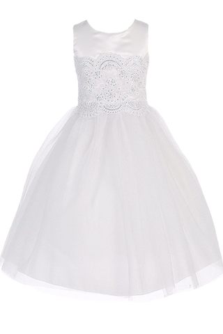 Beaded Lace Applique Girls Communion Dress w. 2-Layer Tulle Skirt  SP144