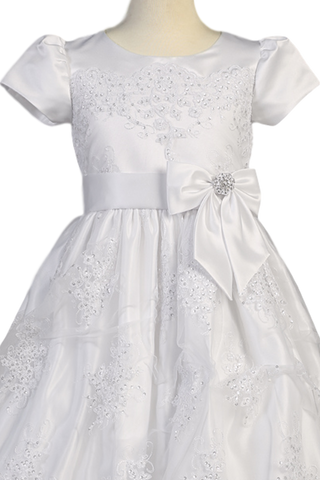 Floral Corded Lace Tulle Overlay Girls First Communion Dress  SP148