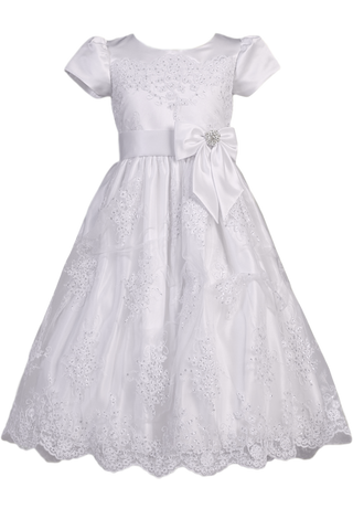 Floral Corded Lace Applique Tulle Girls First Communion Dress SP148