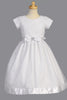 Floral Embroidered Girls Communion Dress w. Organza Skirt & Satin Trim  SP153