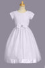 Girls Organza Communion Dress w. Floral Embroidery & Satin Trim 5-12