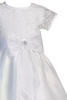 Corded Tulle Short Sleeve Girls Communion Dress w. Organza Skirt  SP155