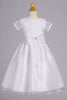 Corded Tulle Short Sleeve Girls Communion Dress with Organza Skirt SP155
