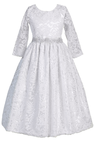 Girls Floral Lace Communion Dress w. 3/4 Sleeves & Silver Trim SP156