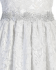 White All-Over Floral Lace Girls First Holy Communion Dress w. 3/4 Sleeves  SP156