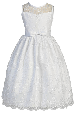Embroidered Tulle Girls Plus Size Communion Dress w. Satin Bow  SP157