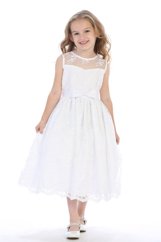 c4b7ceaceb Satin Bow SP157 Embroidered Tulle Girls Plus Size Communion Dress w. Satin  Bow SP157