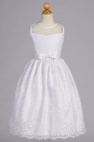 Embroidered Tulle Lace Girls Plus Size Communion Dress SP157