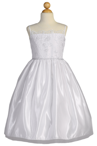 Satin & Tulle Girls Plus Size Communion Dress w. Floral Cord Embroidery SP160