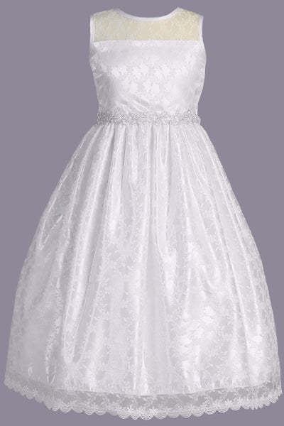33313e94960 Girls Floral Lace Communion Dress w. Silver Corded Trim Waist 6-12 ...