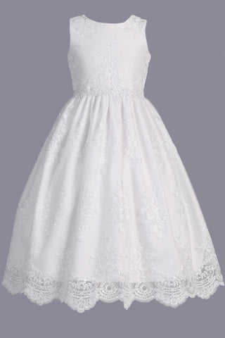 Girls White Floral Embroidered Lace Tulle Communion Dress SP164