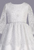 Lace Tiered Girls Satin Communion Dress w. Lace Sleeves & Sequins SP165