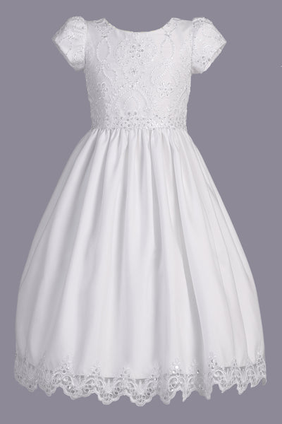 Embroidered Lace & Tulle Girls Plus Size Short Sleeve Communion Dress SP167