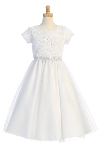 Chiffon Laser-Cut on Tulle Overlay Girls First Holy Communion Dress sp170