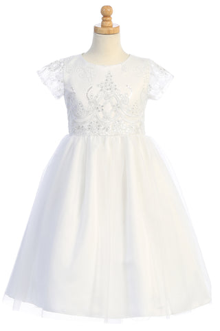 Embroidered Tulle w Sequins Girls Plus Size First Holy Communion Dress sp177