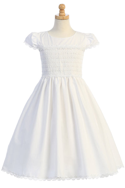 Smocked White Cotton Girls Communion Dress w. Lace Trim 6-12 sp178