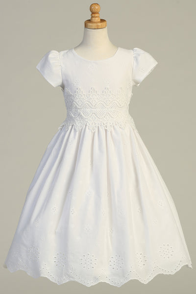 Girls White Cotton Eyelet Communion Dress with Lace Trim sp179