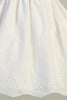 Girls White Cotton Eyelet Communion Dress with Lace Trim 6-12