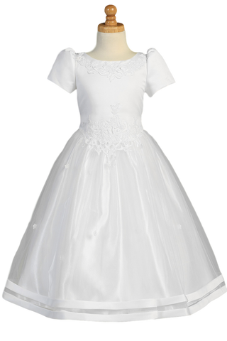 Cut Work Lace Girls Plus Size Satin Communion Dress w. Tulle Skirt  SP193