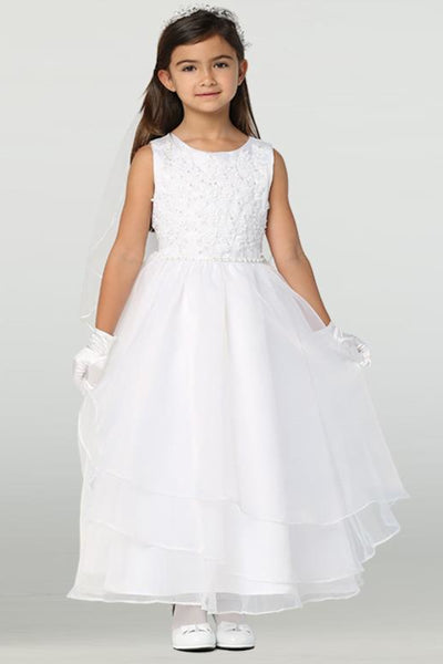 Embroidered Tulle w Tiered Skirting Girls First Holy Communion Dress 6-12