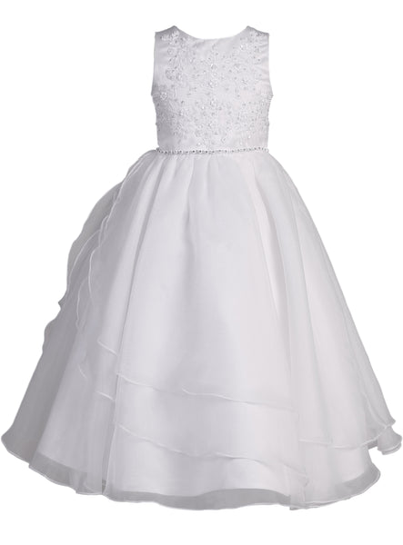 Embroidered Girls Plus Size Communion Dress w. Tiered Tulle 8x-20x