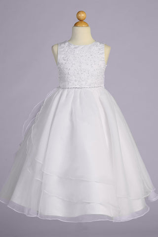 Embroidered Tulle w Tiered Skirting Girls Plus Size Communion Dress sp604